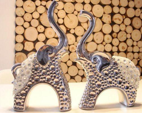 słonie dekoracja ceramiczna