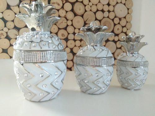 Zestaw pojemników ananas dekoracje porcelana