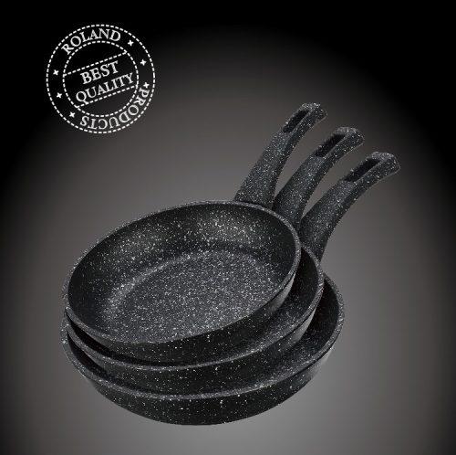 Zestaw patelni 3 sztuki marmur czarne